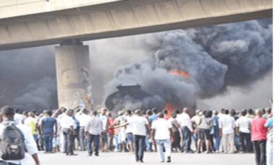 Motorists, pedestrians escape death as tanker explodes