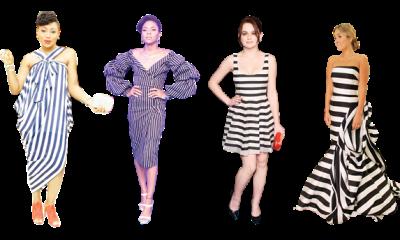 Bold in stripped dress
