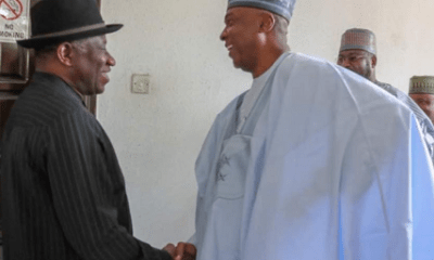 PHOTO: Saraki visits Ex-President Jonathan in Abuja