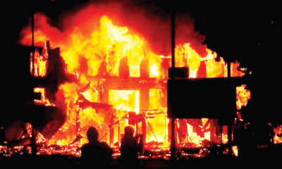 Early morning fire razes building in Kano