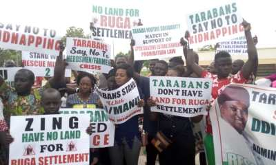 PHOTOS: Protest in Taraba as youths rejects FG's Ruga settlement for herdsmen