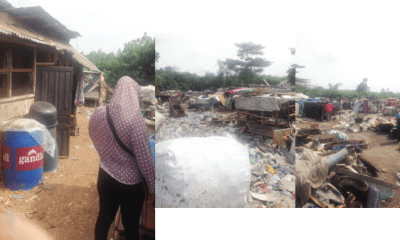 Demolition: Community where displaced residents live in wooden kiosks