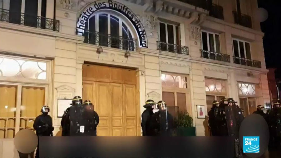 Paris Protesters Try To Enter Theatre Attended By Macron