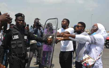 Some of the arrested #EndSARS protesters at Lekki Toll Plaza, Lagos...Saturday. PHOTOS: SULEIMAN HUSAINI
