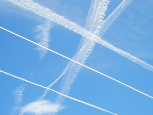Airliner contrails, Reno, Nevada, NV.