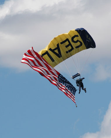 U.S. Navy Leap Frogs parachute team at the Reno Air Races.