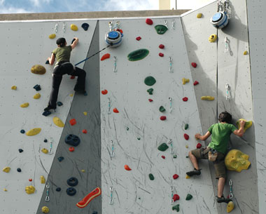 Climbers at CommRow in downtown Reno, Nevada.