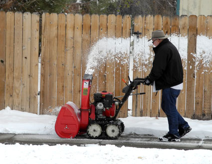 Snowblower at work in Reno, Nevada, NV