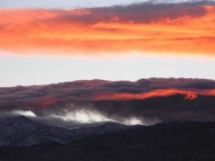 Sunset before snow storm in Reno, Nevada, NV
