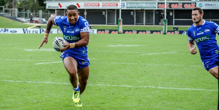 Sami Sauiluma on the way to the try line against Penrith. Photo: Gary Sutherland Photography