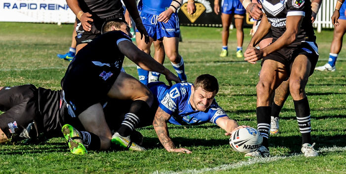 Newtown Jets fullback Nathan Gardner goes extremely close to scoring in last Sunday's NSW Cup match against Wentworthville at Ringrose Park. Photo: Gary Sutherland Photography.