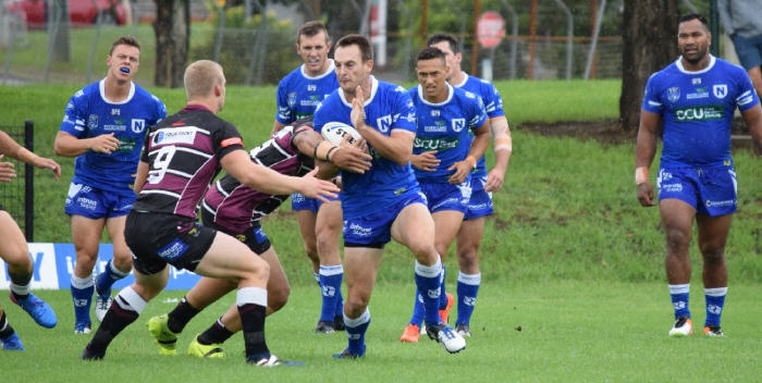 Matt Evans (in possession) in last Sunday's match against Blacktown Workers Sea Eagles, with these Jets players in the background from left to right:  Leigh Higgins, Kurt Capewell, Manaia Cherrington, Daniel Mortimer (obscured), Tony Williams. Photo: Supplied by the NSWRL