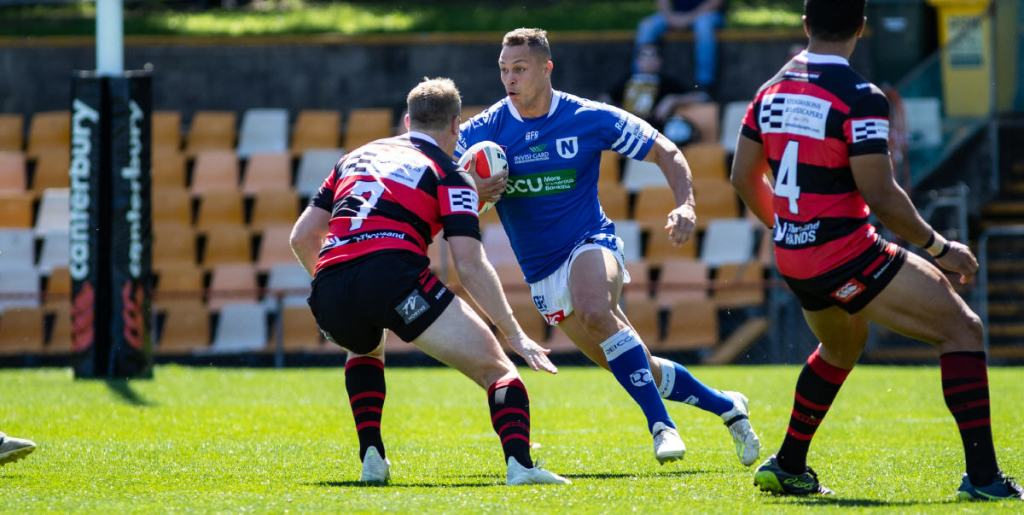 Newtown Jets hard-running second-rower Scott Sorensen made valuable metres for the Jets in Sunday's tense elimination semi-final at Leichhardt Oval. Photo: Mario Facchini, mafphotography