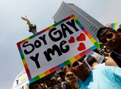 A participant holds up a placard during the Gay Pride Parade in Mexico City