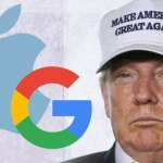 Donald Trump with Google and Apple Logos