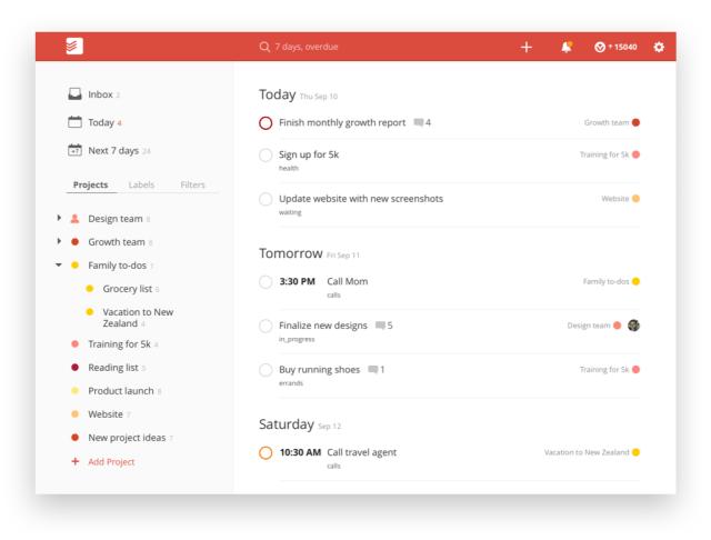 Todoist app todo for 2019