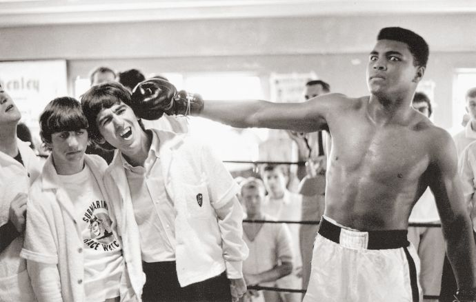 Clay meets the Beatles at the Fifth Street Gym on the eve of the title fight with Sonny Liston in 1964.