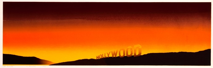 """Hollywood"" (1968). For twenty years, Ruscha kept a studio in East Hollywood. ""If I could see the Hollywood sign, I'd know the weather wasn't too smoggy,"" he said."