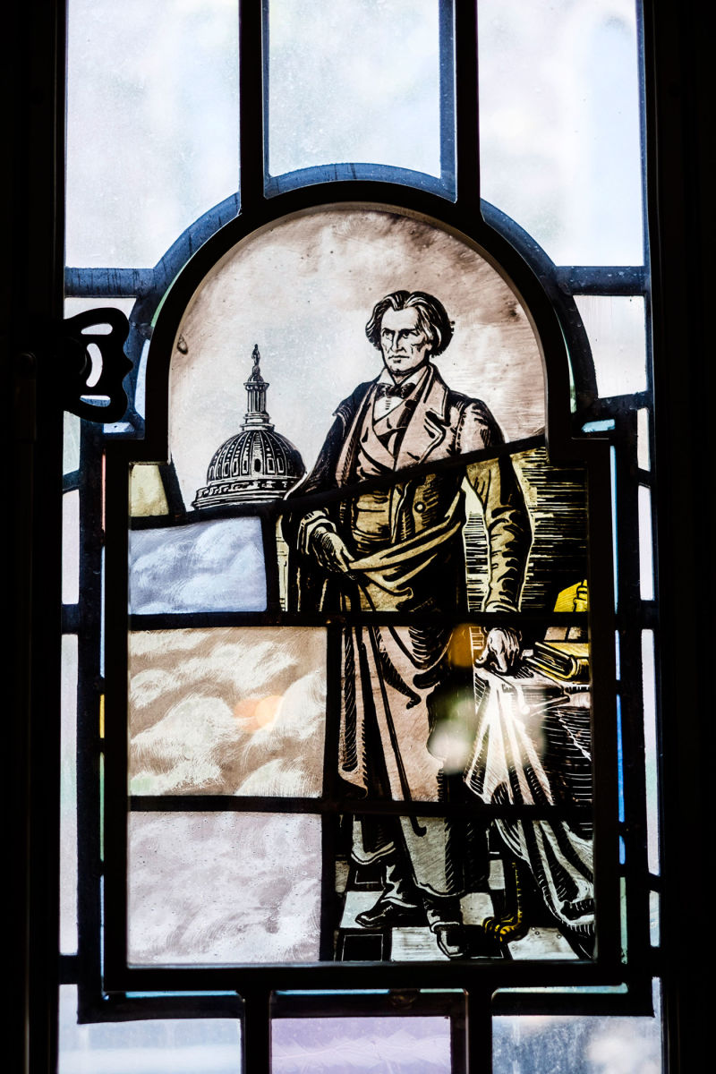 Stained-glass image of John C. Calhoun at Yale