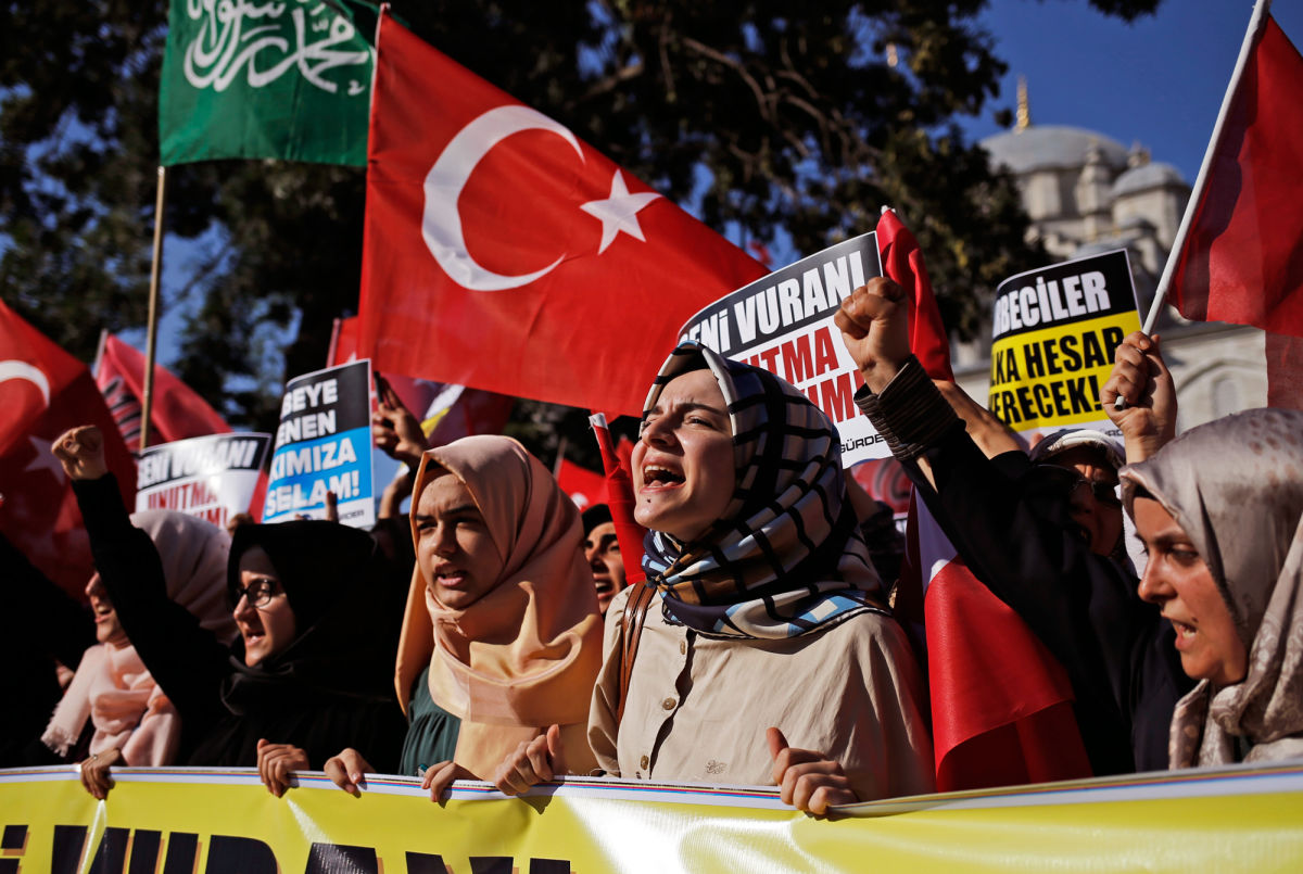 Supporters of Turkish President Tayyip Erdogan rallying in Istanbul on Saturday.