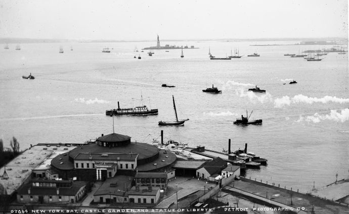 A photograph of Castle Gardens and the Statue of Liberty, taken between 1880 and 1897.