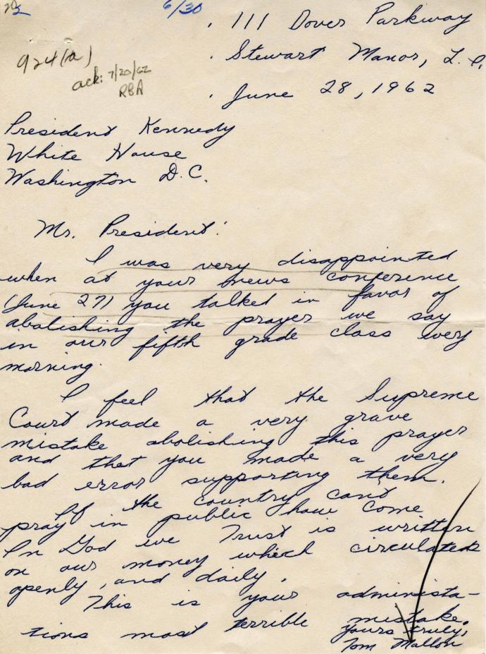 The author's 1962 letter to President Kennedy regarding the Supreme Court's decision in Engel v. Vitale.