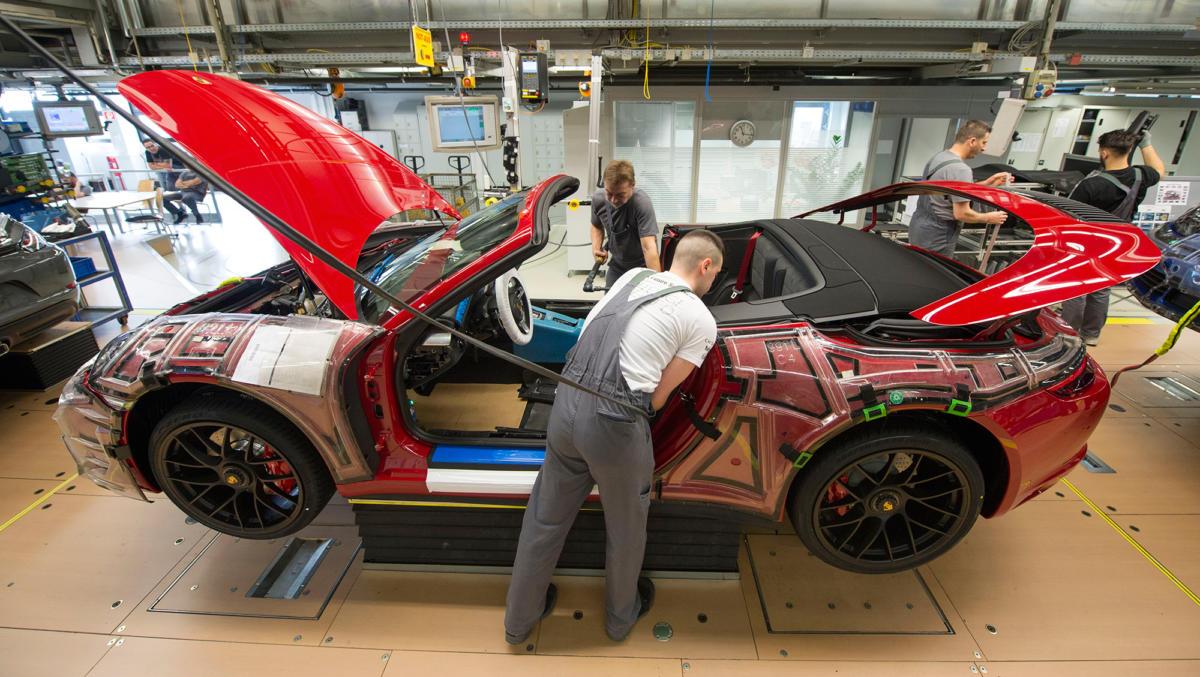 The Porsche production line in Stuttgart, Germany.