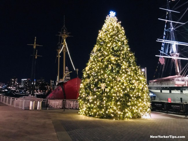 South Street Seaport Christmas Tree In New York