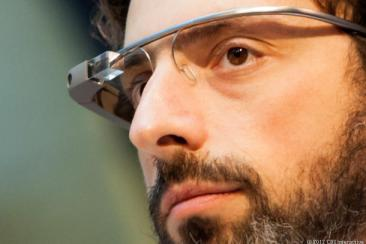 Google's Sergey Brin models Google Glass. (Credit: James Martin/CNET)
