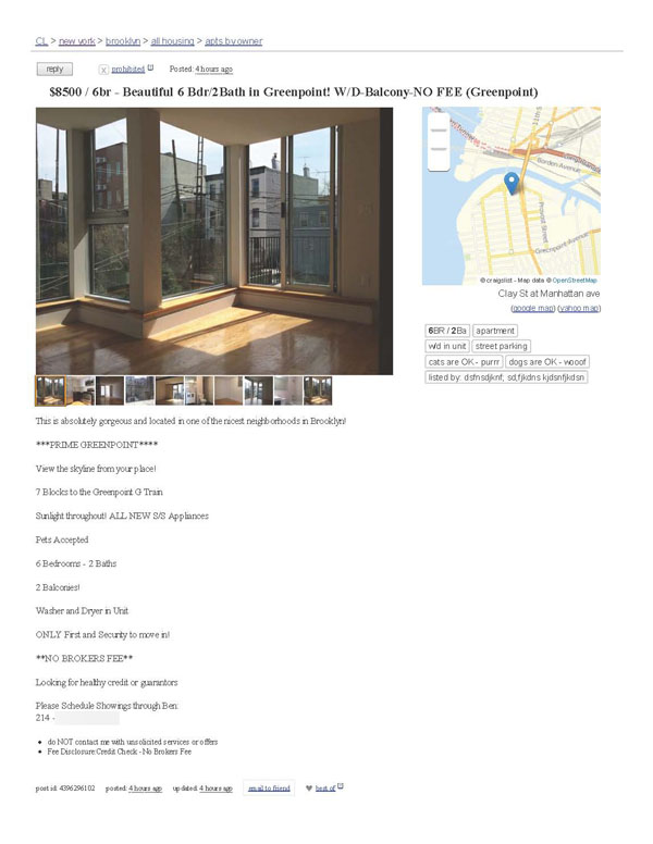 Beautiful 6 Bdr_2Bath in Greenpoint! W_D-Balcony-NO FEE 600
