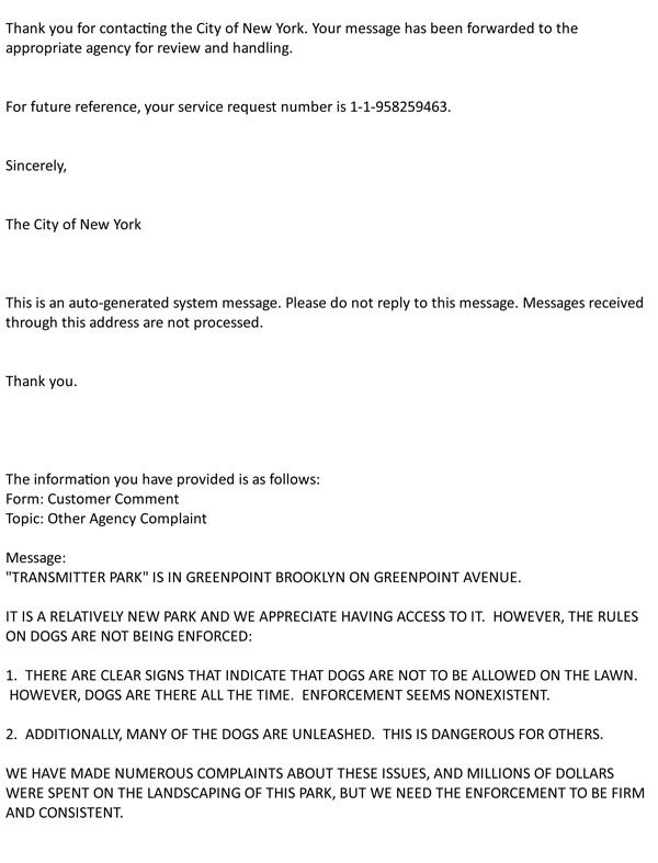 Fwd: City of New York Auto Acknowledgment Correspondence # 1-1-9