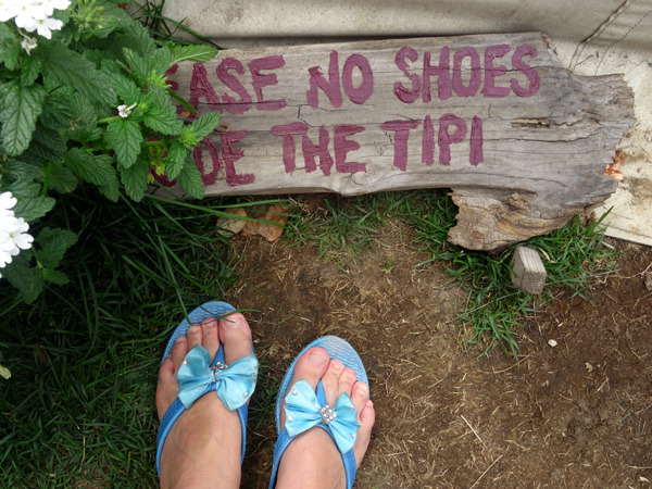 no shoes in the tipi