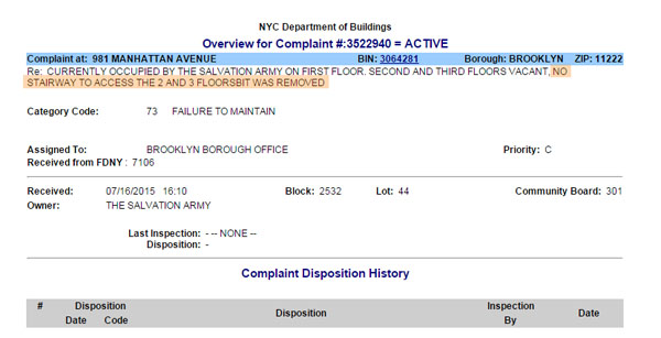 Complaint 3522940 Salvatuin Army nys