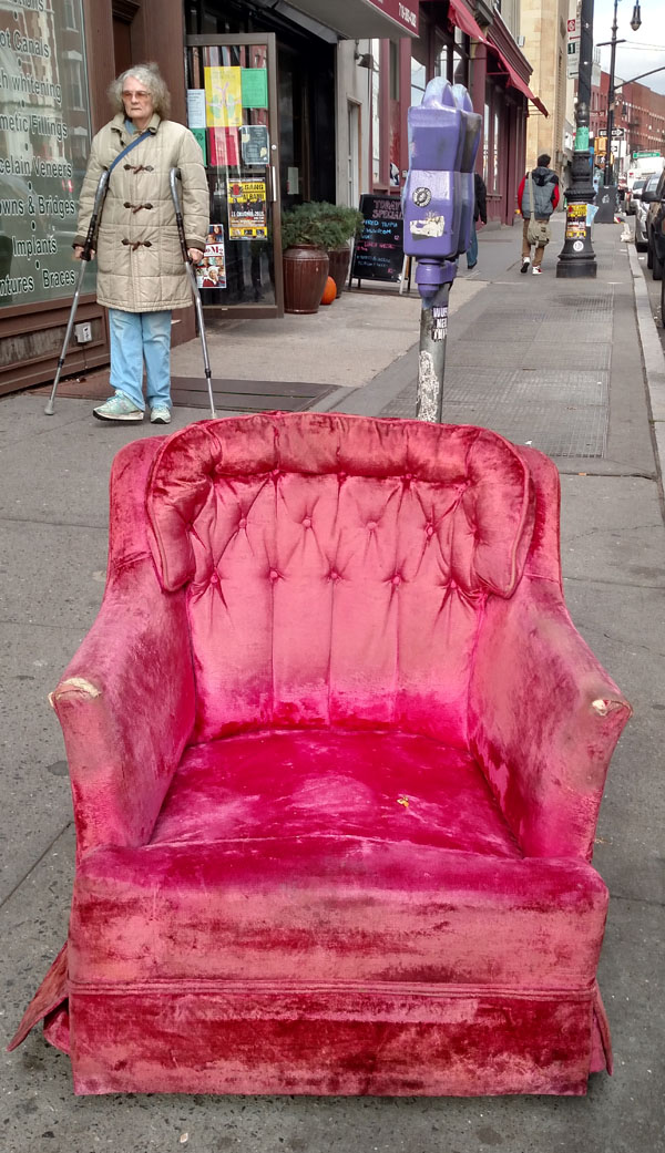 Pink chair purple parking meter nys