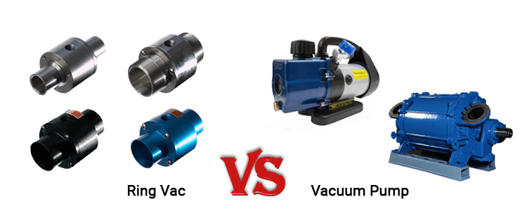 An image showing 4 Ring Vacs in a group on the left side and 2 Vacuum Pumps on the right side