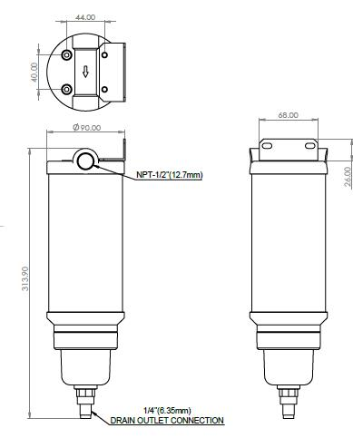 An image showing dimension Model NF-1500 of the super separator.