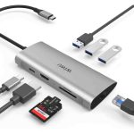 1. WiWU Alpha Type C Hub 8 in 1 Adapter with USB C to RJ45 HD MI 3USB Card Reader Multifunctional USB HUB
