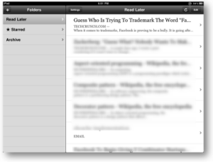 instapaper for iPad screenshot