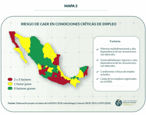 Mapa 2. Riesgo de caer en condiciones críticas de empleo