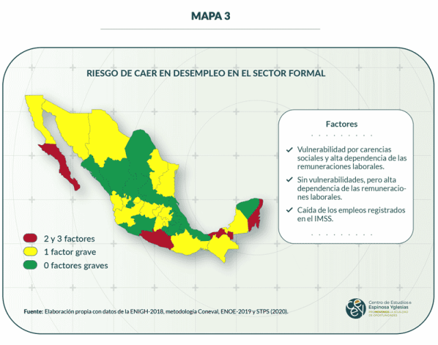 Mapa 3. Riesgo de caer en desempleo en el sector formal