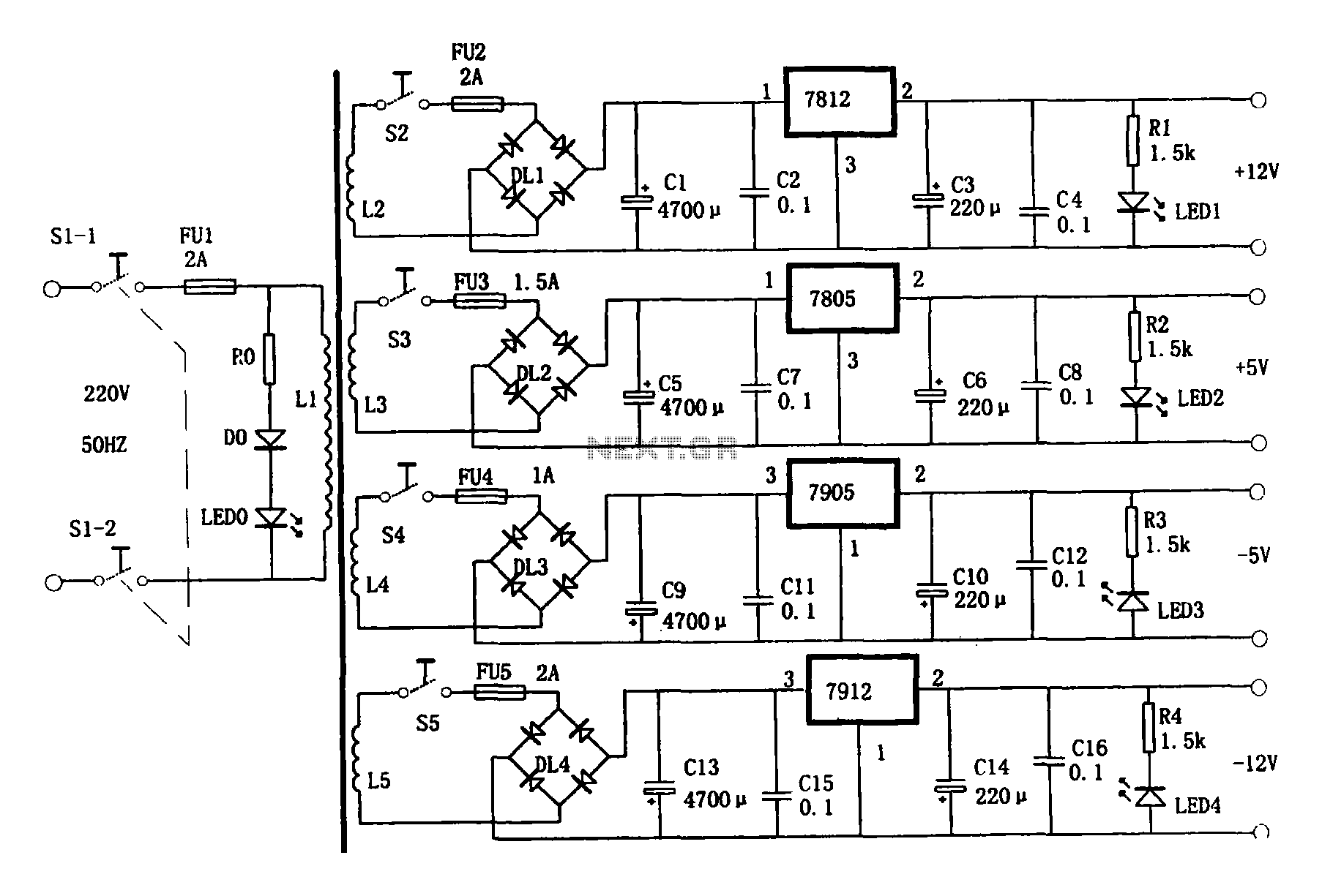 Multi Output Power Supply Circuit Under Ac Dc Amp Dc Dc