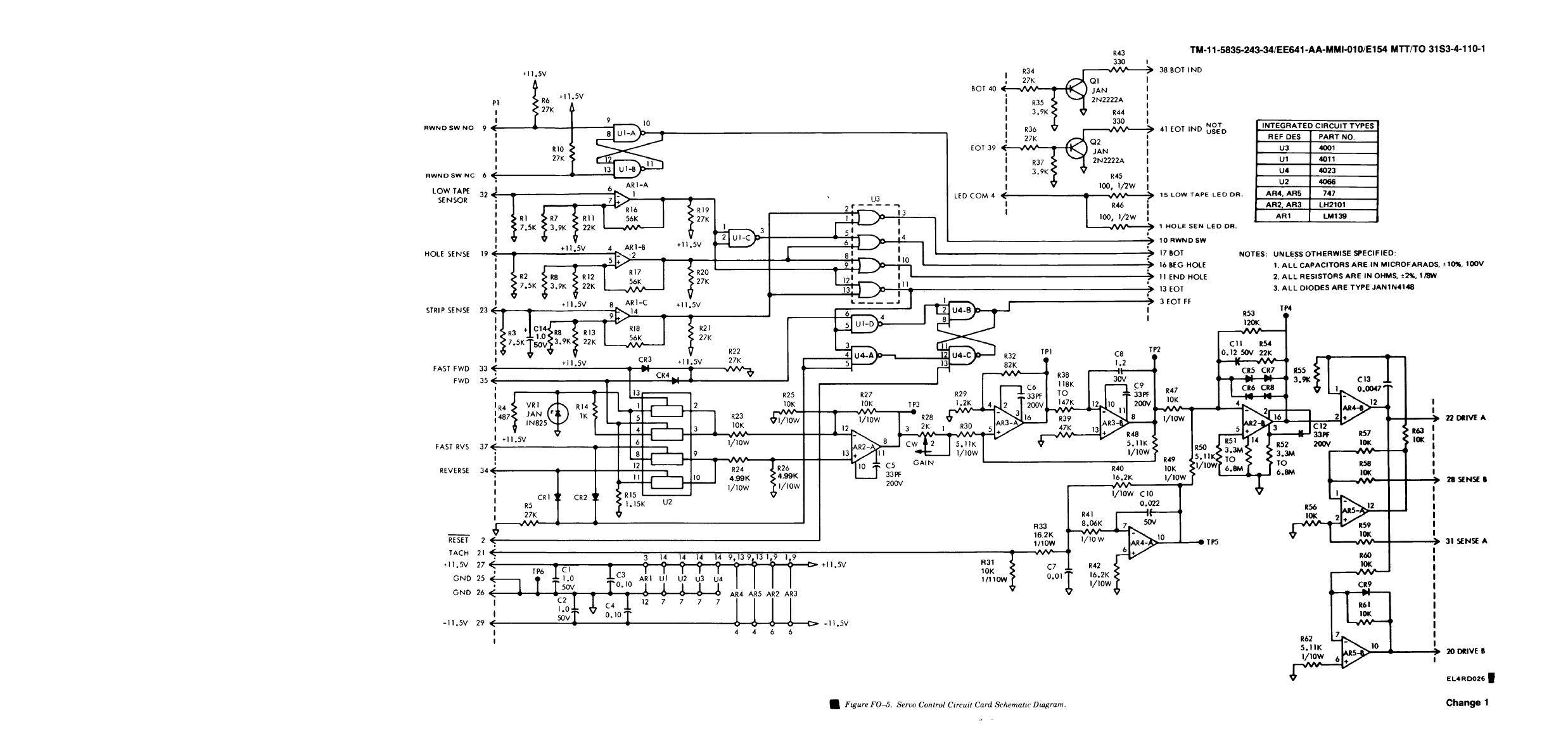 Servo Control Circuit Card Schematic Diagram Under