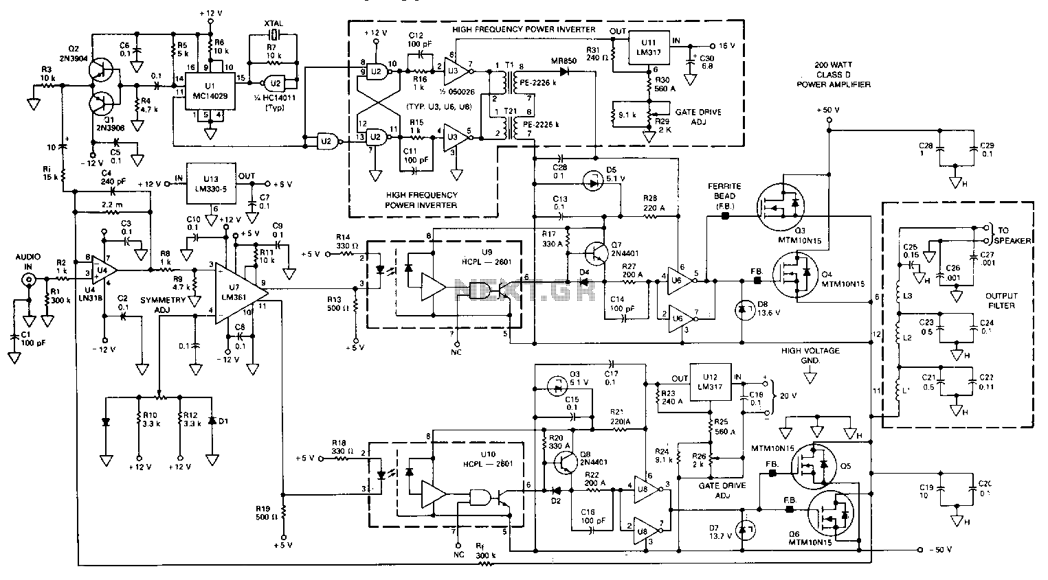 Audio Amplifier Schematic Power Band Large