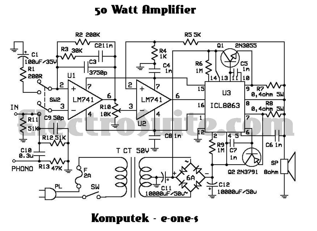 50w Amplifier Using Icl Under Repository Circuits