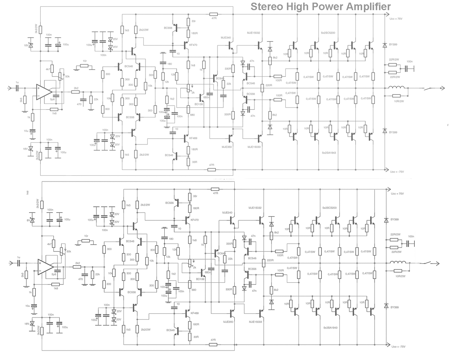 Stereo High Power Audio Amplifier Under Repository Circuits Next