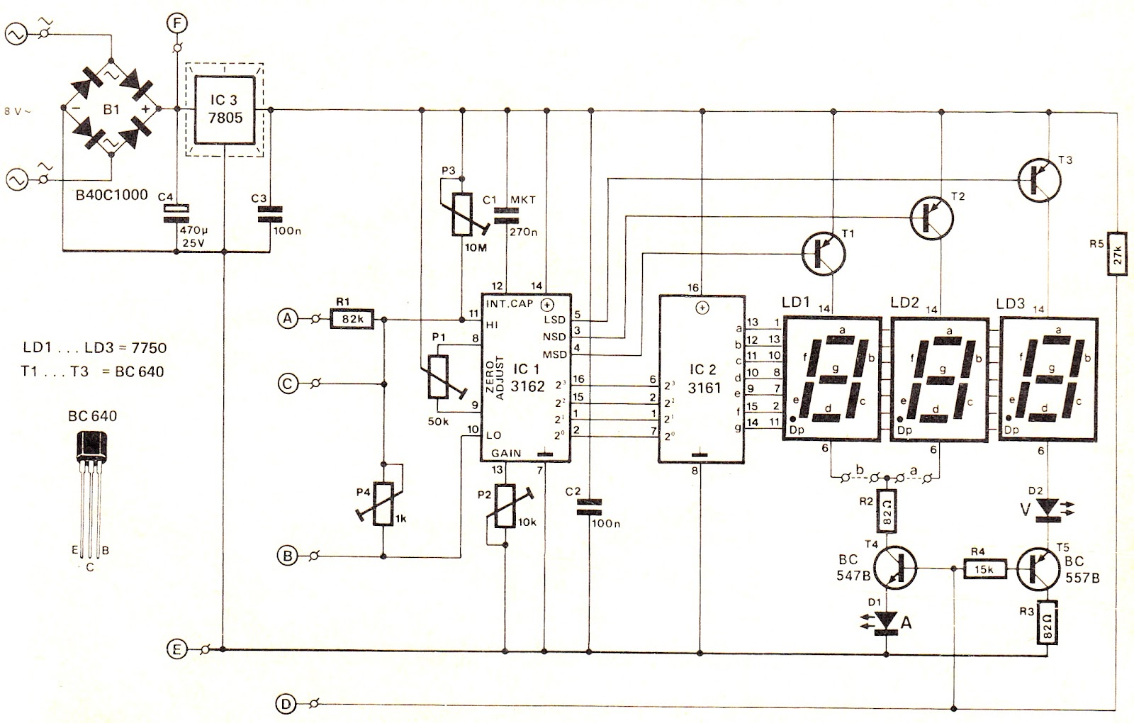 Simple Digital Voltmeter Circuit Diagram Using Ca And