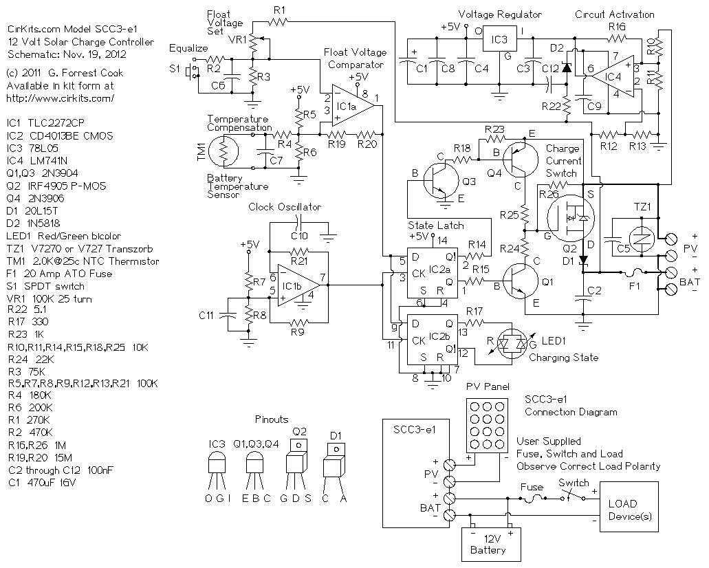 12 Volt Solar Panel Charge Controller Circuit Diagram