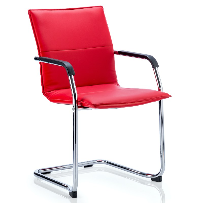 Echo Cantilever Chair Red Bonded Leather With Arms