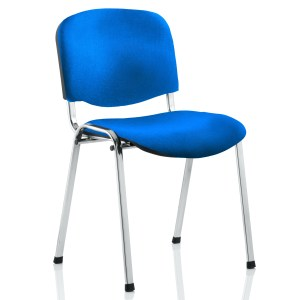 ISO Stacking Chair Blue Fabric Chrome Frame Without Arms