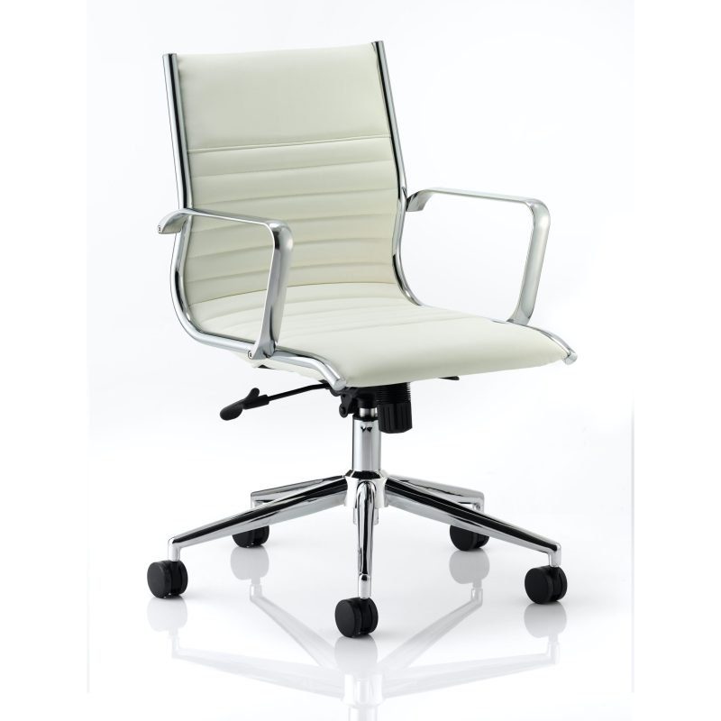 Ritz Executive Medium Back Chair Ivory Bonded Leather With Arms